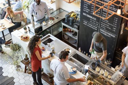 커피 숍 바 카운터 카페 레스토랑 휴식 개념