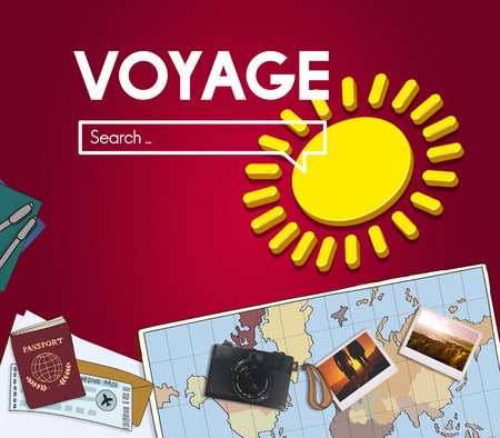 Voyage internet search with illustrations Stok Fotoğraf - 110092886