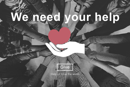 group of hands: We Need Your Help Welfare Donation Concept Stock Photo