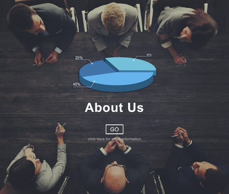 about us: About Us Contact Information Business Concept Stock Photo