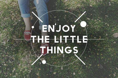 Enjoy The Little Things Enjoyment Happiness Joy Concept Stock Photo