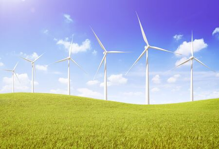 wind turbines: Windmill Turbine Fuel and Power Generation Sustainable Concept