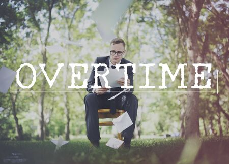 workload: Overtime Additional Overload Hours Late Job Concept Stock Photo