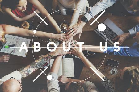 about us: About Us Information Story Description Concept Stock Photo