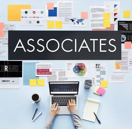 associates: Document Marketing Strategy Business Concept Stock Photo