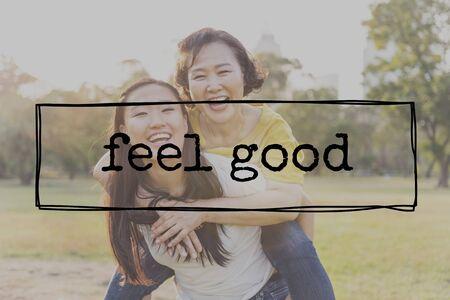 Feel Good Glück Fröhlich Joyful Optimistisch Sorglos-Konzept