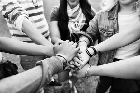 Handen Monteer Teamwerk Vriendschap Saamhorigheid Concept