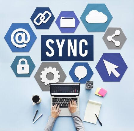 sync: Technology Sync Word Graphic Concept