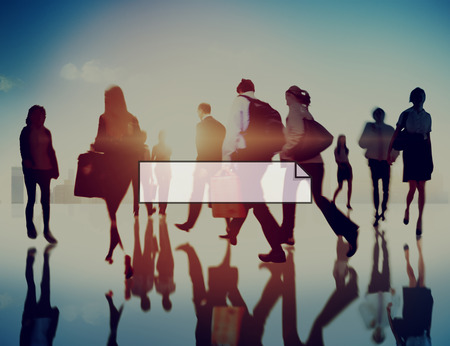 Business people walking with copy space Imagens