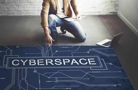 technology career: Cyber Cyberspace Connection Globalization Technology Concept Stock Photo