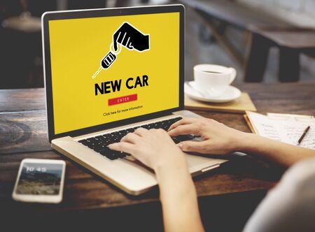 used car: Car Rental Used Car Transportation Vehicle Concept Stock Photo