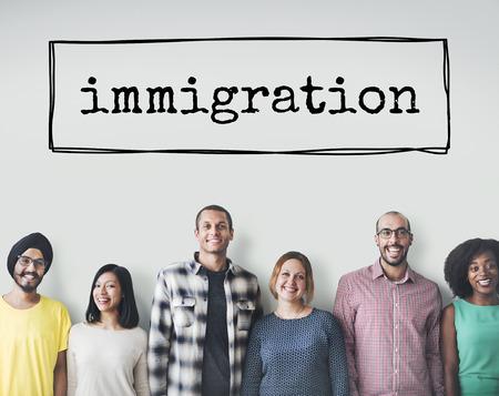 Migrieren Einwanderung Einwanderer Verschieben an Bord Konzept Standard-Bild
