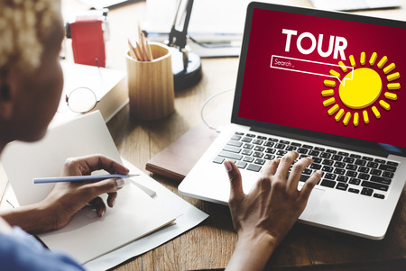 Woman at work with tour internet search