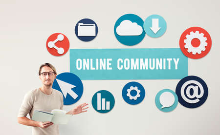 net meeting: Online Community Networking Technology Concept
