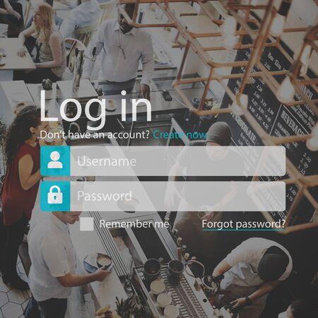 Connexion Inscription Mot de passe Système de sécurité Concept accessible Banque d'images