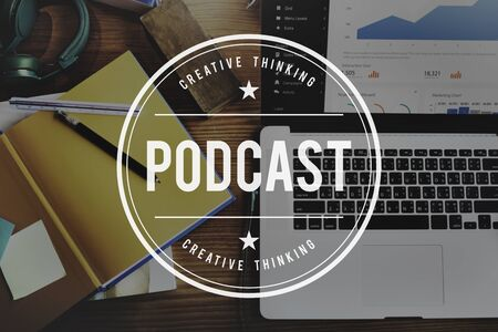 learning series: Podcast Audio Social Media Digital Sharing Network Concept