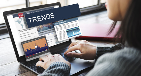 news flash: Update Trends Report News Flash Concept Stock Photo
