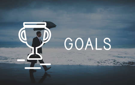 failed strategy: Goals Target Success Strategy Achievement Concept