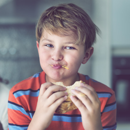 Boy Child Kid Bread Sandwich Starving Eating Concept Stock Photo