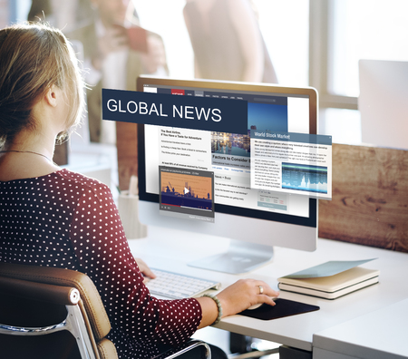 journalism: Media Journalism Global Daily News Content Concept Stock Photo