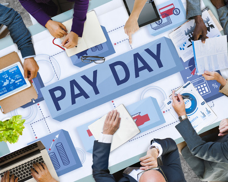 Business meeting with pay day concept