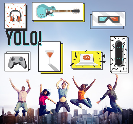 teenagers laughing: Youth Culture Free Yolo Trendy Teenage Concept