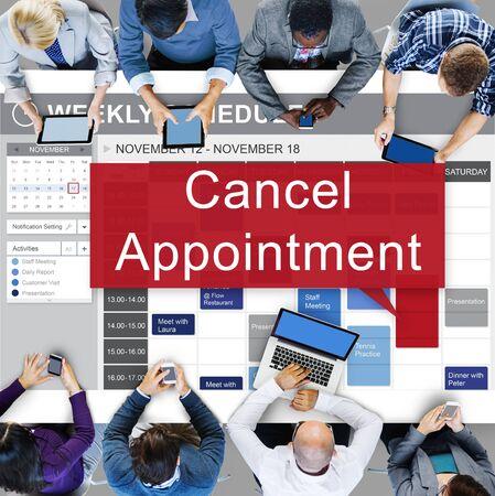 postpone: Cancel Cancellation Appiontment Postpone Concept