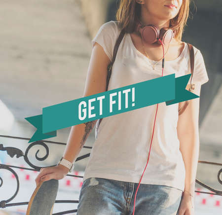get a workout: Get Fit! Activity Workout Health Concept Stock Photo