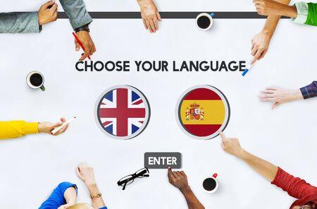 factions: Language Dictionary English Spanish Concept Stock Photo
