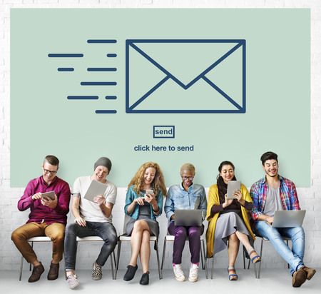 messaging: Messaging Email Send Envelope Communication Concept Stock Photo