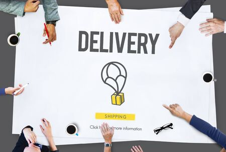 courier: Delivery Courier Commodity Freight Goods Order Concept Stock Photo
