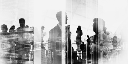 cityscape silhouette: Silhouette Business People Discussion Meeting Cityscape Team Concept