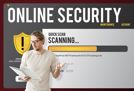 Man holding a book with online security concept 스톡 콘텐츠
