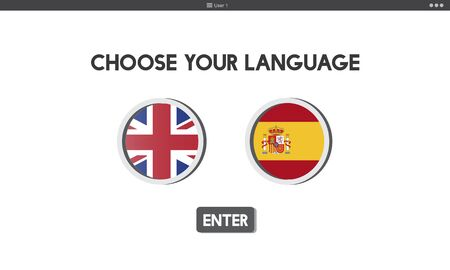 faction: Language Dictionary English Spanish Concept Stock Photo