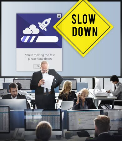 hectic life: Keep Calm Reduce Speed Relax Slow Down Concept Stock Photo