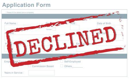 repel: Decline Declined Reject Rejection Refusal Concept