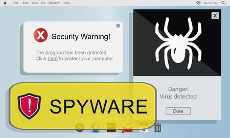 spyware: Spyware Computer Hacker Virus Malware Concept Stock Photo
