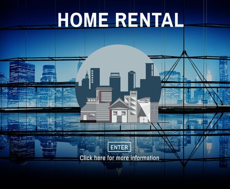 night lights: Home Rental House Property Rent Concept Stock Photo