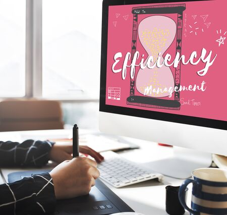 efficient: Efficiecncy Efficient goal strategy performance Concpet Stock Photo