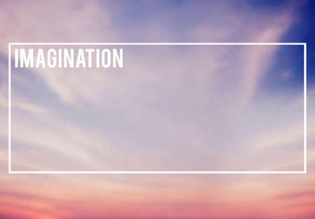 visualise: Blue and Pink Sky Background Imagine Imagination Concept Stock Photo