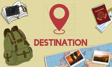destination: Navigation Location Mapping Destination Technology Graphic Concept