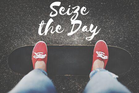 recoger: Aprovecha el Día Momento Collect Placer concepto positivo