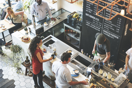 counter service: Coffee Shop Bar Counter Cafe Restaurant Relaxation Concept Stock Photo