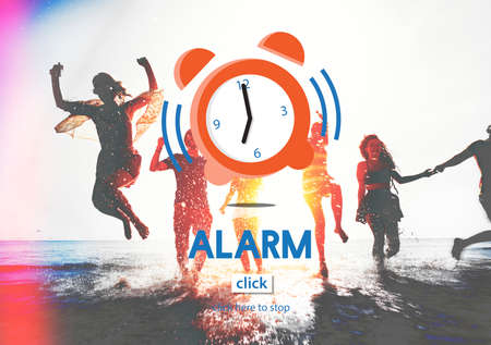 keywords adult: Alarm Clock Wake Up Morning Concept Stock Photo