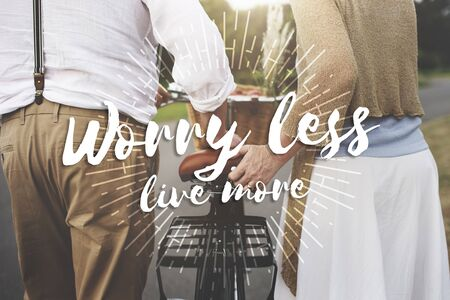 more mature: Worry Less Live More Attitude Emotion Happiness Concept Stock Photo