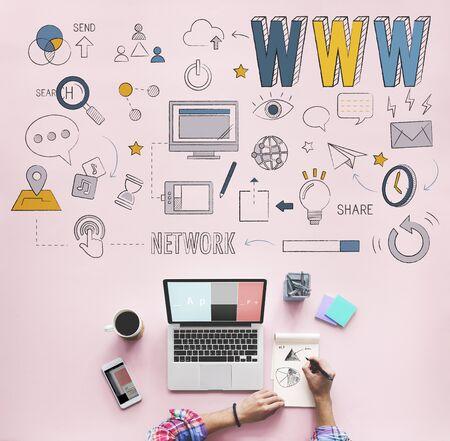 Concepto de conexión a Internet en línea Sitio web www