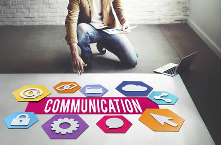 global communication: Communication Creative People Layout Graphic Concept Stock Photo