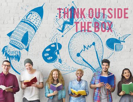 visualise: Think Outside The Box Ideas Creativity Imagination Concept