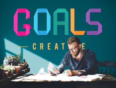 man business oriented: Goals Aim Motivative Target Vision Inspiration Concept