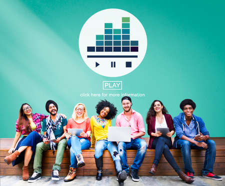 university students: Music Player Media Melody Play Concept Stock Photo